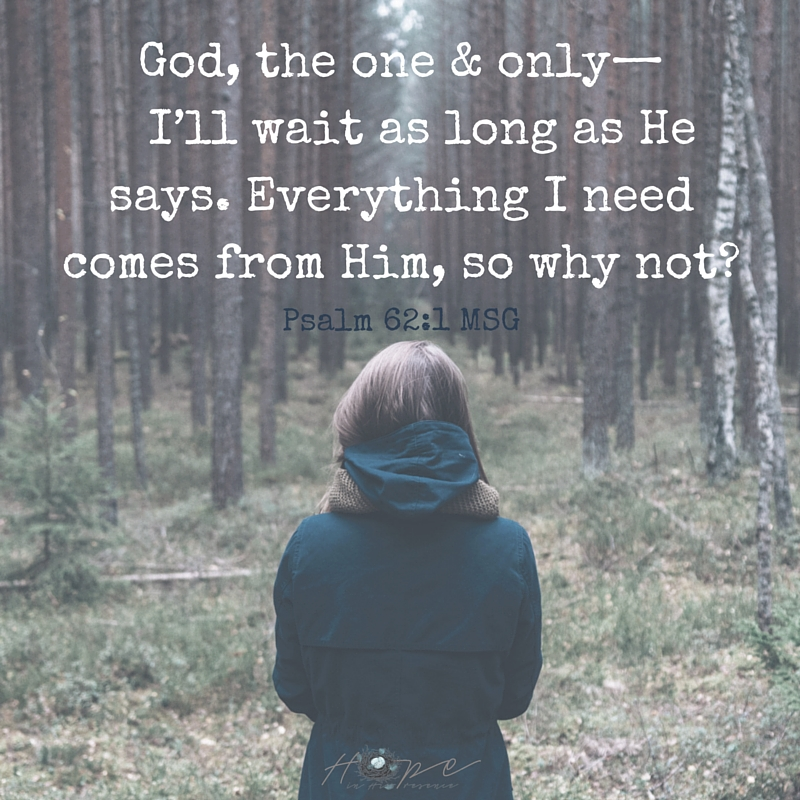 God, the one & only— I'll wait as long as He says. Everything I need comes from Him, so why not-
