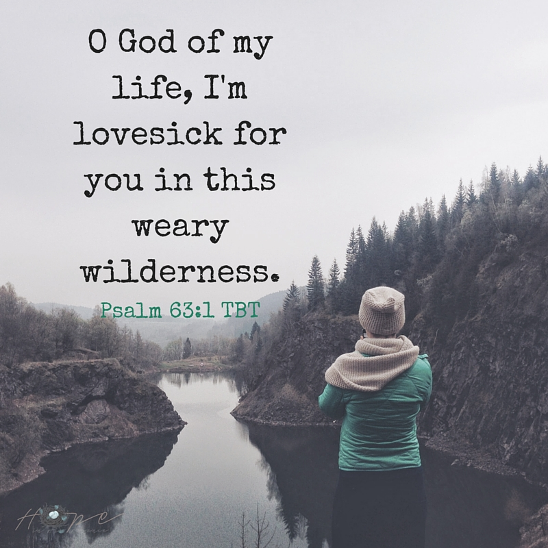O God of my life, I'm lovesick for you in this weary wilderness.